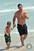 Mark and Michael Wahlberg, beach Miami