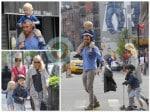 Naomi Watts and Liev Schreiber with Sammy and Sasha in NYC