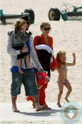 Nicole Richie with Joel, Harlow and Sparrow Madden at the beach