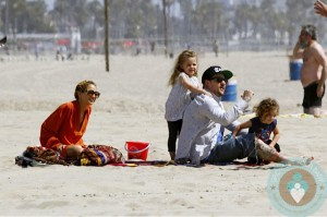 Nicole Richie with Joel, Harlow and Sparrow Madden at the beach in LA