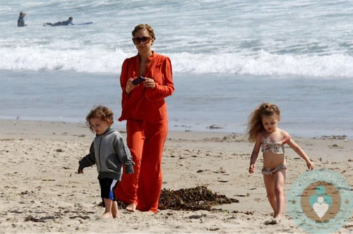 Nicole Richie with kids Harlow and Sparrow Madden at the beach