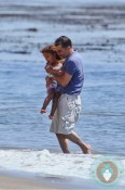 Olivier Martinez and Nahla Aubry at the beach