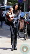 Padma Lakshmi with daughter Krishna in SoHo