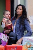 Padma Lakshmi with daughter Krishna out in SoHo