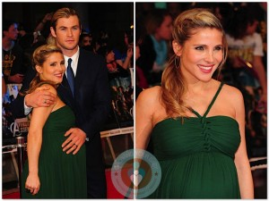 Pregnant Elsa Pataky and Chris Hemsworth at the premiere of Marvel Avengers