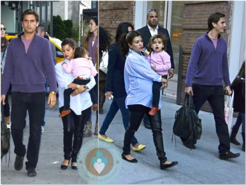 Pregnant Kourtney Kardashian, Scott Disick, Mason Disick NYC