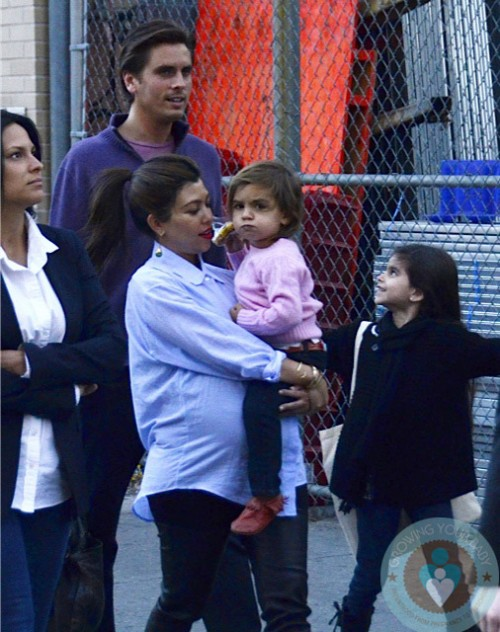 Pregnant Kourtney Kardashian, Scott Disick, Mason Disick with friends in NYC