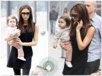 Victoria Beckham with daughter Harper in Beijing