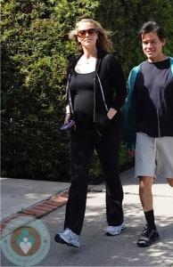 pregnant Elizabeth Berkley in LA
