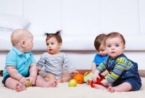 Babies sitting floor