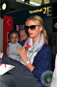 Charlize Theron with son Jackson at Charles De Gaulle Airport