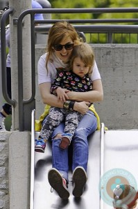Isla Fisher and daughter Elula Cohen @ the park NYC