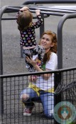 Isla Fisher and daughter Elula Cohen at the park NYC