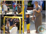 Kourtney and Kim Kardashian at the park with Mason Disick