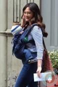 Lindsay Price with son Hudson Stone in NYC