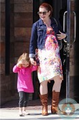 Pregnant Alyson Hannigan with daughter Satyana