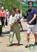 Pregnant Kourtney Kardashian, Scott Disick, Mason Disick @ park LA