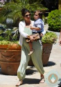 Pregnant Kourtney Kardashian with son Mason Disick @ park