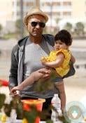 Tony Kanal and his daughter Coco, beach, Marina Del Ray