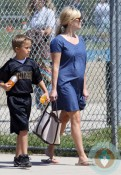 pregnant Reese Witherspoon at son Deacons football game