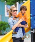 Doutzen Kroes and her son Phyllon Joy Gorre playground in NYC