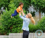 Doutzen Kroes with her son Phyllon Joy Gorre, playground in NYC
