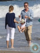 Eric Dane and Rebecca Gayheart, beach, Malibu, Billie Beatrice