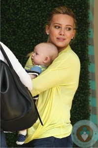 Hilary Duff with son Luca Comrie shopping