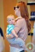 January Jones with son Xander out shopping for shoes