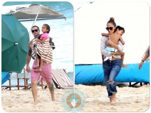Jennifer Lopez and Casper Smart with twins Max and Emme Anthony in Rio