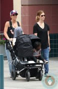 Jillian Michaels, son Phoenix, Heidi Rhoades, daughter Loukensia, Mountain Buggy