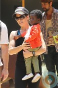 Jillian Michaels with daughter Lukensia at the GYM
