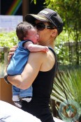 Jillian Michaels, with son Phoenix at the Gym