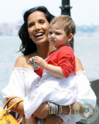 Padma Lakshmi and her daughter Krishna at the ferry terminal