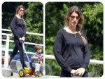 Pregnant Gisele Bundchen with son Benjamin Brady, walk in Boston