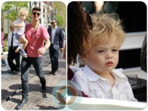Robin Thicke with son Julian at the Grove
