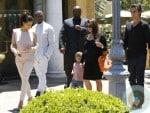 pregnant Kourtney Kardashian, Scott Disick, Mason Disick, Kanye West, Kim Kardashian Out in Calabasas.psd