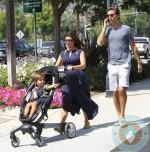 pregnant Kourtney Kardashian, Scott Disick,  Mason Disick in an Origami