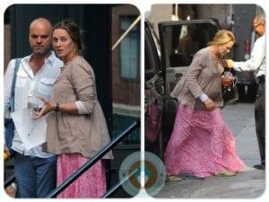 pregnant Uma Thurman shopping in NYC