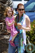 Alyson Hanngian and daughter Satyana Denisof out in La