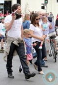 Ben Affleck, Violet Affleck, Jennifer Garner, SEraphina Affleck 4th of July Parade