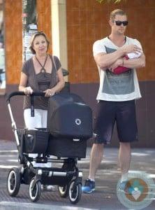 Chris Hemsworth with daughter India Rose, Cristina Medianu, Madrid