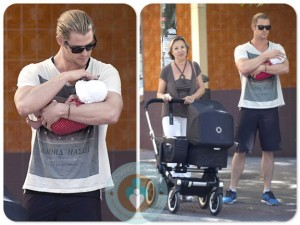 Chris Hemsworth with daughter India Rose, MIL Cristina Medianu, Madrid