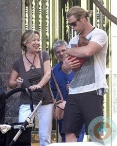 Chris Hemsworth with daughter India Rose, MIL Cristina Medianu, Madrid Spain