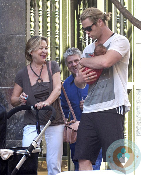 Chris Hemsworth with daughter India Rose, MIL Cristina Medianu, Madrid Spain