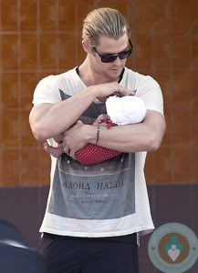 Chris Hemsworth with daughter India Rose, Madrid