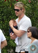 Chris Hemsworth with his daughter India Hemsworth out inSanta Monica