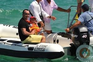 David Furnish and his son Zachary Jackson Levon in St Tropez