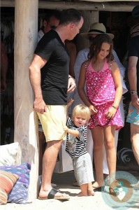 David Furnish, son Zachary Jackson Levon in St Tropez