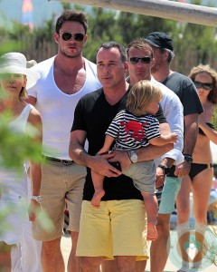 David Furnish with son Zachary Jackson Levon in St Tropez